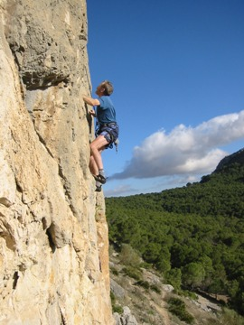 Jim climbing in El Chorro
