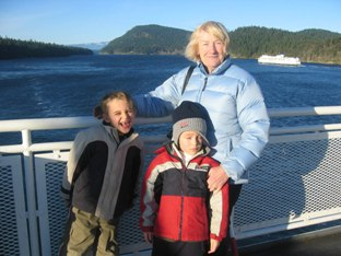 Lil and boys on BC ferry